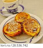 Купить «Close-up of typical portuguese dessert pastry Pastéis de Nata - portuguese egg custard tart», фото № 28536742, снято 16 марта 2018 г. (c) Ingram Publishing / Фотобанк Лори