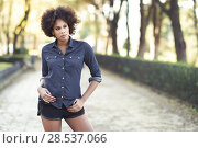 Купить «Young black woman with afro hairstyle standing in urban background. Mixed woman wearing blue shirt and shorts.», фото № 28537066, снято 10 декабря 2016 г. (c) Ingram Publishing / Фотобанк Лори