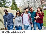 Купить «Group of multi-ethnic young people having fun together outdoors in urban background», фото № 28537326, снято 22 марта 2015 г. (c) Ingram Publishing / Фотобанк Лори