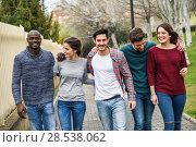 Купить «Group of multi-ethnic young people having fun together outdoors in urban background», фото № 28538062, снято 22 марта 2015 г. (c) Ingram Publishing / Фотобанк Лори