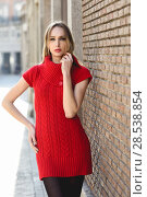 Купить «Young blonde woman standing in the street near a brick wall. Beautiful girl in urban background wearing red dress and black tights. Female with straight hair.», фото № 28538854, снято 11 декабря 2016 г. (c) Ingram Publishing / Фотобанк Лори