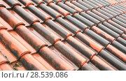 Купить «Red-tiled roof in the rain, summer day», видеоролик № 28539086, снято 4 июня 2018 г. (c) Mikhail Starodubov / Фотобанк Лори