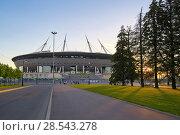 Купить «SAINT PETERSBURG, RUSSIA - JUNE 01, 2018: View of the Zenit Aren», фото № 28543278, снято 1 июня 2018 г. (c) Андрей Зарин / Фотобанк Лори