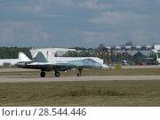 Купить «Российский многоцелевого истребителя пятого поколения Су-57( ПАК ФА, Т-50), вид справа, Международный авиационно-космический салон МАКС-2015», фото № 28544446, снято 23 августа 2015 г. (c) Малышев Андрей / Фотобанк Лори