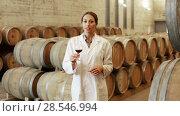 Купить «Young cheerful woman wearing coat holding glass of wine in large cellar on winery factory», видеоролик № 28546994, снято 7 сентября 2016 г. (c) Яков Филимонов / Фотобанк Лори