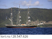 Купить «The Stad Amsterdam, a three-masted clipper, off the coast of  Dominica, January 2015.», фото № 28547626, снято 16 августа 2018 г. (c) Nature Picture Library / Фотобанк Лори