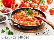 Купить «Meat stew with vegetables», фото № 28548026, снято 18 февраля 2018 г. (c) Надежда Мишкова / Фотобанк Лори