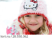 Portrait of young girl wearing wolly hat. Стоковое фото, фотограф McPHOTO / age Fotostock / Фотобанк Лори