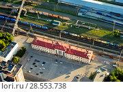 """Купить «Вид сверху на железнодорожный вокзал """"Рязань - 1"""" и привокзальную площадь», фото № 28553738, снято 27 мая 2018 г. (c) Инна Грязнова / Фотобанк Лори"""