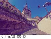 Купить «Clock tower from fortress square in Sighisoara, Romania», фото № 28555134, снято 16 сентября 2017 г. (c) Яков Филимонов / Фотобанк Лори