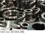Купить «Steel cogwheels, spur gears.», фото № 28556386, снято 25 января 2017 г. (c) Андрей Радченко / Фотобанк Лори