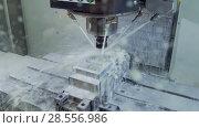 Купить «The process of milling a metal part on a CNC machine», видеоролик № 28556986, снято 28 мая 2018 г. (c) Андрей Радченко / Фотобанк Лори