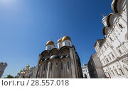 Купить «Inside of Moscow Kremlin, Russia (day). Assumption Cathedral (Cathedral of the Dormition, Uspensky sobor)», фото № 28557018, снято 11 мая 2018 г. (c) Владимир Журавлев / Фотобанк Лори