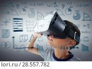 Купить «Composite image of close-up of boy wearing virtual reality headset», фото № 28557782, снято 15 августа 2018 г. (c) Wavebreak Media / Фотобанк Лори