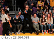 Купить «Celebrities at the Lakers game. The Los Angeles Lakers defeated the Golden State Warriors by the final score of 117-97 at Staples Center in downtown Los...», фото № 28564098, снято 4 ноября 2016 г. (c) age Fotostock / Фотобанк Лори