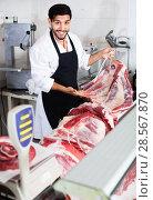Купить «Smilling butcher is offering meat to clients in market.», фото № 28567870, снято 15 сентября 2017 г. (c) Яков Филимонов / Фотобанк Лори