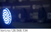 Купить «Blue stage lighting - working show», видеоролик № 28568134, снято 25 сентября 2018 г. (c) Константин Шишкин / Фотобанк Лори