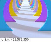 Купить «Abstract colorful tunnel interior with white floor. 3d», иллюстрация № 28582350 (c) EugeneSergeev / Фотобанк Лори