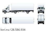 Купить «Semi truck template isolated on white», иллюстрация № 28586934 (c) Александр Володин / Фотобанк Лори