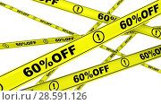 Купить «Sixty percentage off. Yellow warning tapes in motion», видеоролик № 28591126, снято 29 марта 2018 г. (c) WalDeMarus / Фотобанк Лори