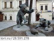 "Купить «Москва, Мясницкая улица, скульптура ""Играющие тигрята""», фото № 28591278, снято 15 апреля 2018 г. (c) Dmitry29 / Фотобанк Лори"