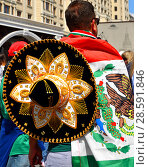 Купить «2018 FIFA World Cup. Fans in center of Moscow. Sombrero from Mexico», фото № 28591846, снято 17 июня 2018 г. (c) Валерия Попова / Фотобанк Лори