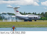 Купить «Ил-76МД (бортовой RF-78805) на посадке, аэродром Мигалово, Тверь», эксклюзивное фото № 28592350, снято 10 июня 2018 г. (c) Alexei Tavix / Фотобанк Лори
