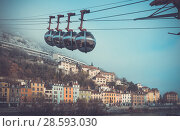 Купить «View of French Alps and Grenoble cable car in autumn», фото № 28593030, снято 7 декабря 2017 г. (c) Яков Филимонов / Фотобанк Лори