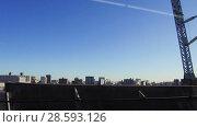 Купить «view of city and railway from moving train», видеоролик № 28593126, снято 9 июня 2018 г. (c) Syda Productions / Фотобанк Лори