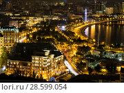 Купить «Панорама ночного Баку. Вид с высоты. Республика Азербайджан», фото № 28599054, снято 23 сентября 2015 г. (c) Евгений Ткачёв / Фотобанк Лори