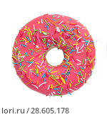 Donut with colorful sprinkles isolated. Стоковое фото, фотограф Ekaterina Demidova / Фотобанк Лори