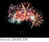 Купить «Celebratory firework in a night sky», фото № 28605378, снято 15 октября 2018 г. (c) ElenArt / Фотобанк Лори