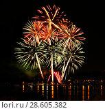 Купить «Celebratory firework in a night sky», фото № 28605382, снято 23 июля 2019 г. (c) ElenArt / Фотобанк Лори