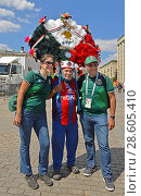 Купить «2018 FIFA World Cup. Extraordinary Mexican Fans on Manege Square in center of Moscow», фото № 28605410, снято 17 июня 2018 г. (c) Валерия Попова / Фотобанк Лори