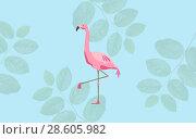 Купить «pink flamingo bird over blue background», фото № 28605982, снято 3 июля 2020 г. (c) Syda Productions / Фотобанк Лори