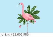 Купить «pink flamingo bird over blue background», фото № 28605986, снято 3 июля 2020 г. (c) Syda Productions / Фотобанк Лори