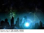 Купить «city of future over space and holograms», фото № 28605990, снято 25 февраля 2016 г. (c) Syda Productions / Фотобанк Лори