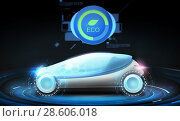 Купить «futuristic concept car with eco icon», фото № 28606018, снято 22 августа 2019 г. (c) Syda Productions / Фотобанк Лори