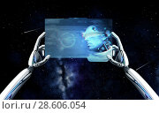 robot hands with cyborg on tablet pc over space. Стоковое фото, фотограф Syda Productions / Фотобанк Лори