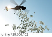 Купить «helicopter dropping money in sky», фото № 28606102, снято 7 июля 2020 г. (c) Syda Productions / Фотобанк Лори
