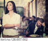 Купить «quarreled visitors female and male in restaurant», фото № 28607002, снято 11 декабря 2017 г. (c) Яков Филимонов / Фотобанк Лори