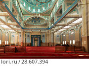 Купить «ASTANA, KAZAKHSTAN -August 25, 2015: Interior of the Nur-Astana Mosque, the third largest mosque in Central Asia», фото № 28607394, снято 25 августа 2015 г. (c) Владимир Пойлов / Фотобанк Лори