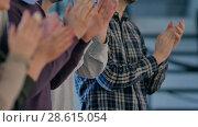 Купить «Satisfied proud business team clapping hands», видеоролик № 28615054, снято 3 мая 2017 г. (c) Vasily Alexandrovich Gronskiy / Фотобанк Лори