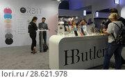 Купить «Pavilion HButler at IFA, Messe, Berlin, Germany», видеоролик № 28621978, снято 25 мая 2017 г. (c) BestPhotoStudio / Фотобанк Лори