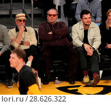 Купить «Celebrities at the Los Angeles Lakers game. The Golden State Warriors defeated the Los Angeles Lakers by the final score of 109-85 at the Staples Center...», фото № 28626322, снято 25 ноября 2016 г. (c) age Fotostock / Фотобанк Лори