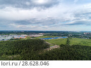Aerial view of wheat fields, meadow, forest and village in rural Russia. Стоковое фото, фотограф Андрей Радченко / Фотобанк Лори