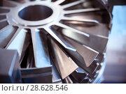 Blades molecular vacuum pump. Abstract industrial background. Стоковое фото, фотограф Андрей Радченко / Фотобанк Лори