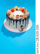 Купить «Большой праздничный торт на синем фоне», фото № 28629330, снято 21 июня 2018 г. (c) V.Ivantsov / Фотобанк Лори