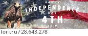 Купить «Composite image of happy independence day», фото № 28643278, снято 17 июля 2018 г. (c) Wavebreak Media / Фотобанк Лори