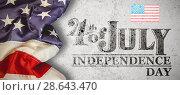 Купить «Composite image of creased us flag», фото № 28643470, снято 17 июля 2018 г. (c) Wavebreak Media / Фотобанк Лори